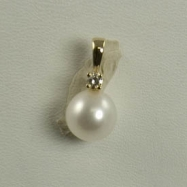 "14K White Gold 8.5-9mm ""AA"" Quality Freshwater Pearl & .07ctw Diamond Pendant 18"" Necklace"