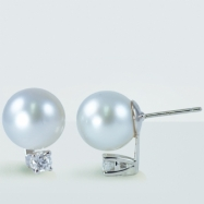 14K White Gold 10-11mm White Sterling Silver Pearl & 0.30cttw Diamond Earring