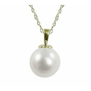 "14K Yellow Gold 9-10mm ""AA"" Quality Freshwater Pearl Pendant 18"" Necklace"