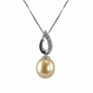 """14K White Gold Natural Pink 8-8.5mm Freshwater Pearl & Diamond Pendant 18"""" Necklace"""