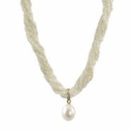 """8str Freshwater Pearl Seed Pearl & Dia/ Freshwater Pearl Drop Enhancer 18"""" Necklace"""