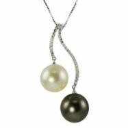 14K White Gold 11-12mm Tahitian Prl,wht Freshwater Pearl & Diamond Pendant