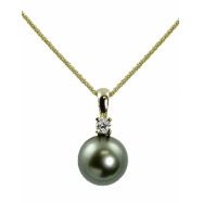 "14K Yellow Gold 10-11mm Tahitian Pearl & .15cttw Diamond Pendant 18"" Necklace"