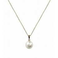 "14K Yellow Gold Sterling Silver Pearl & .12ct Diamond Pendant 18"" Necklace"