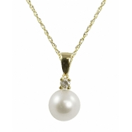 "14K Yellow Gold 6.5-7mm ""AA"" Quality Freshwater Pearl & .04ctw Diamond Pendant 18"" Necklace"