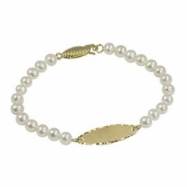 "14K Yellow Gold 3.5-4mm Freshwater Pearl Oval Id 5"" Bracelet"