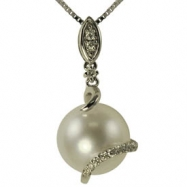 14K White Gold 10-11mm White Freshwater Pearl & Diamond Pendant