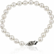 "14K White Gold Freshwater Pearlalternatingquad Bead 7"" Bracelet"