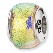 Sterling Silver Yellow Dichroic Glass Bead