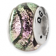 Sterling Silver Pink Dichroic Glass Bead