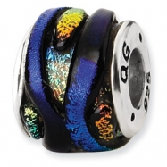 Sterling Silver Rainbow Dichroic Glass Bead