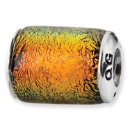 Sterling Silver Orange Dichroic Glass Barrel Bead