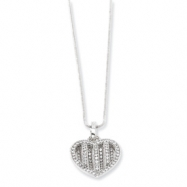 Sterling Silver & CZ Polished Heart Necklace chain