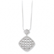 Sterling Silver & CZ Fancy Polished Necklace chain