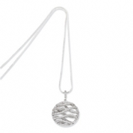Sterling Silver & CZ Polished Fancy Round Necklace chain