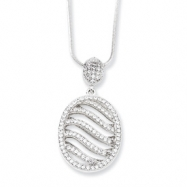 Sterling Silver & CZ Fancy Polished Oval Necklace chain