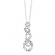 Sterling Silver & CZ Polished Fancy Oval Necklace chain