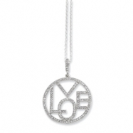 Sterling Silver & CZ Round Love Necklace chain