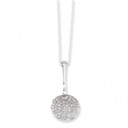 Sterling Silver & CZ Polished Circle Necklace chain