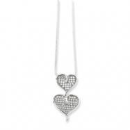 Sterling Silver & CZ Polished Double Heart Necklace chain