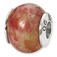 Sterling Silver Reflections Pink Serpentine Stone Bead