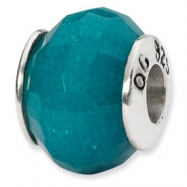 Sterling Silver Reflections Light Blue Quartz Stone Bead
