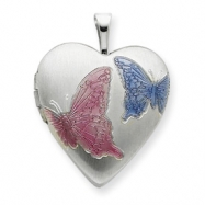 Sterling Silver 20mm with Enameled Butterflies Heart Locket chain
