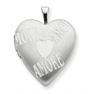 Sterling Silver 20mm with AMORE Heart Locket chain