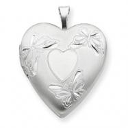 Sterling Silver 20mm with Heart Butterflies Heart Locket chain