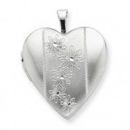 Sterling Silver 20mm with Flowers Heart Locket chain
