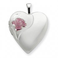 Sterling Silver 20mm with Enameled Rose Heart Locket chain