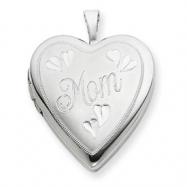 Sterling Silver 20mm MOM Heart Locket chain