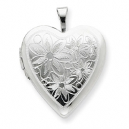 Sterling Silver 20mm with Daisies Heart Locket chain