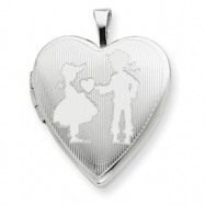 Sterling Silver 20mm Boy giving a Heart to Girl  Heart Locket chain