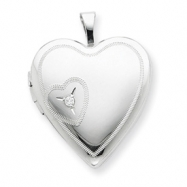 Sterling Silver 20mm Heart with Diamond Heart Locket chain