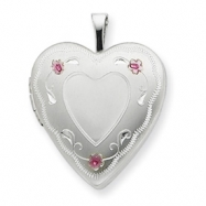Sterling Silver 20mm Enameled Roses Heart Locket chain