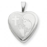 Sterling Silver 16mm Girls Communion Heart Locket chain