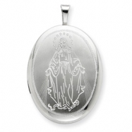 Sterling Silver 20mm Blessed Mother Mary Oval Locket chain