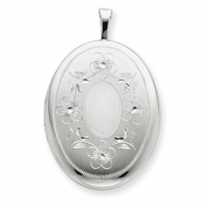 Sterling Silver 20mm Oval with Flowers Oval Locket chain