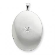 Sterling Silver 20mm Diamond Oval Locket chain