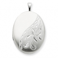 Sterling Silver 20mm Side Flowered Oval Locket chain