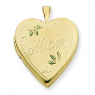 1/20 Gold Filled 20mm Enameled Leaves Mom Heart Locket chain