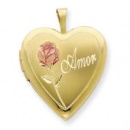 1/20 Gold Filled 20mm Enameled Rose Amor Heart Locket chain