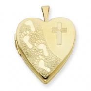 1/20 Gold Filled 20mm Cross & Footprint Heart Locket chain