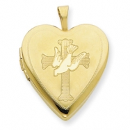 1/20 Gold Filled 20mm Cross with Dove Heart Locket chain