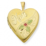 1/20 Gold Filled 20mm Enameled Mom Heart Locket chain