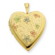 1/20 Gold Filled 20mm Enameled Flowers Mom Heart Locket chain