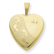 1/20 Gold Filled 16mm Footprints Heart Locket chain
