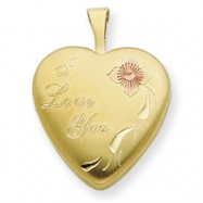 1/20 Gold Filled 16mm Enameled Flower I Love You Heart Locket chain