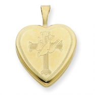 1/20 Gold Filled 16mm Cross with Dove Heart Locket chain